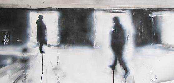 La rencontre - dessin par le peintre québécois Marc Laberge