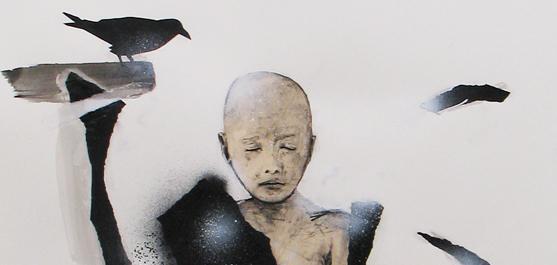 Éclosion - dessin par le peintre québécois Marc Laberge